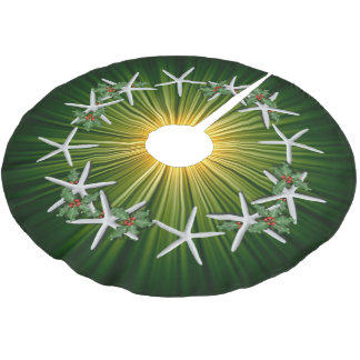 Tropical Christmas Starfish Green Starburst Brushed Polyester Tree Skirt