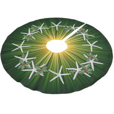 Christmas Themed Tropical Christmas Starfish Green Starburst Brushed Polyester Tree Skirt