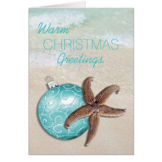 Tropical Christmas Starfish Ornament Beach Greeting Card