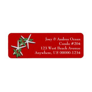 Tropical Christmas Starfish Return Address Labels