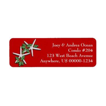 Christmas Themed Tropical Christmas Starfish Return Address Labels
