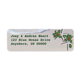Tropical Christmas Starfish Return Address Sticker Label