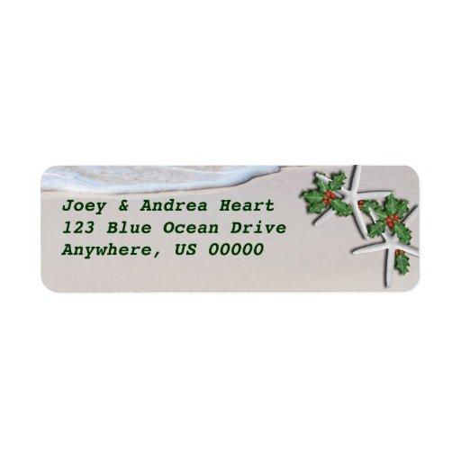 Tropical Christmas Starfish Return Address Sticker Custom Return Address Labels