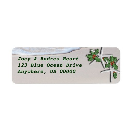 Tropical Christmas Starfish Return Address Sticker Return Address Label