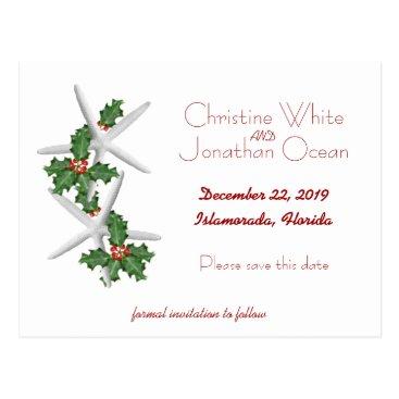 Christmas Themed Tropical Christmas Starfish Wedding Save the Date Postcard