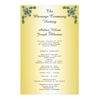 Tropical Christmas Wedding Ceremony Template, Gold Flyer