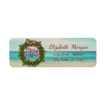 Beach Themed Tropical Christmas Wreath,Beach Label