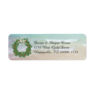 Tropical Christmas Wreath Ocean Skinny Address Label at Zazzle
