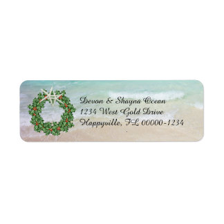 Tropical Christmas Wreath Ocean Skinny Address Label