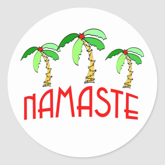 Tropical Christmas Yoga Gifts Classic Round Sticker