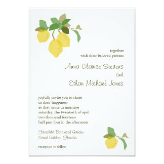 "Tropical Citrus Wedding Invitation 5"" X 7"" Invitation Card"