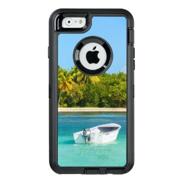 Beach Themed Tropical Coast Fishing Boat in Turquoise Water OtterBox Defender iPhone Case