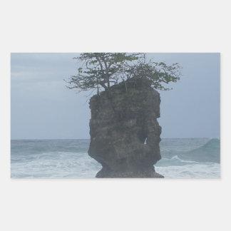 tropical coast rectangular sticker