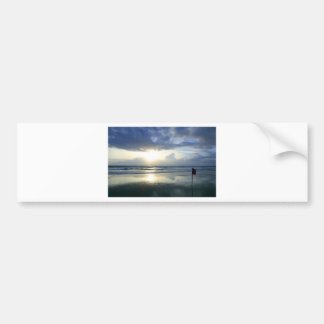 Tropical coast sunset paradise beach bumper sticker