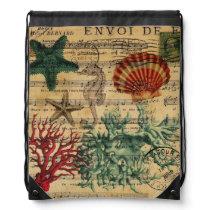 tropical coastal coral seashells seahorse drawstring backpack