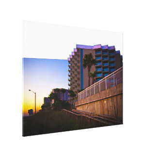 Tropical Coastal Landscape and Architecture Canvas Print