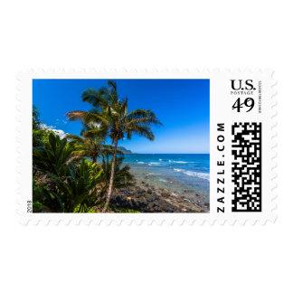 Tropical coastline stamp