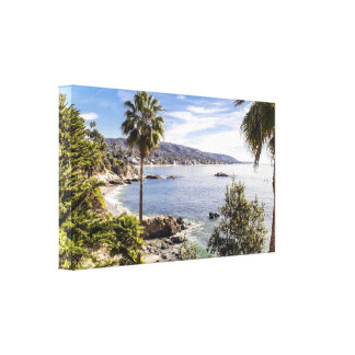 Tropical Coastline with Palms Canvas Wrap