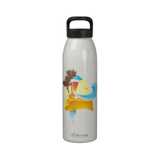 Tropical cocktail and wave drinking bottles