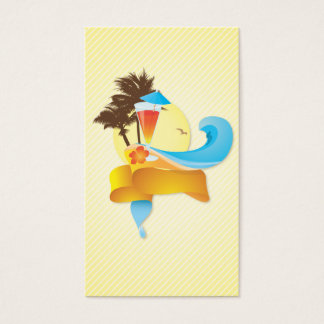 Tropical Cocktail and Waves Business Card