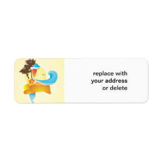Tropical Cocktail and Waves Custom Return Address Label