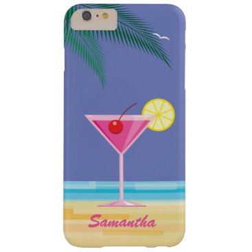 Beach Themed Tropical Cocktail & Beach iPhone 6/6s Plus purple Barely There iPhone 6 Plus Case