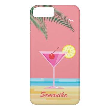 Beach Themed Tropical Cocktail & Beach iPhone 7 Plus - coral iPhone 7 Plus Case