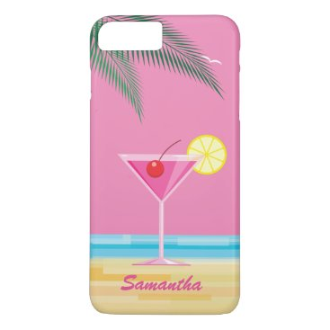 Beach Themed Tropical Cocktail & Beach iPhone 7 Plus - pink iPhone 8 Plus/7 Plus Case