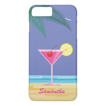 Beach Themed Tropical Cocktail & Beach iPhone 7 Plus purple iPhone 8 Plus/7 Plus Case