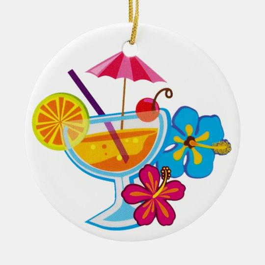 Tropical Cocktail Ceramic Ornament