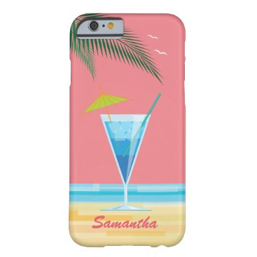 Beach Themed Tropical Cocktail & Coral Sky iPhone 6/6s Case