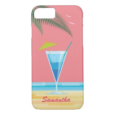 Beach Themed Tropical Cocktail & Coral Sky iPhone 7 Case