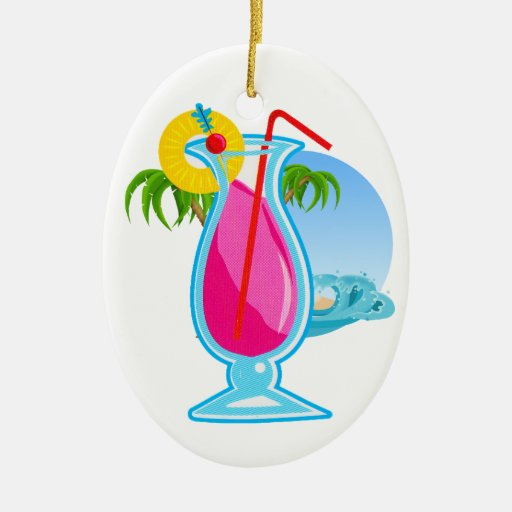 Tropical Cocktail Double-Sided Oval Ceramic Christmas Ornament