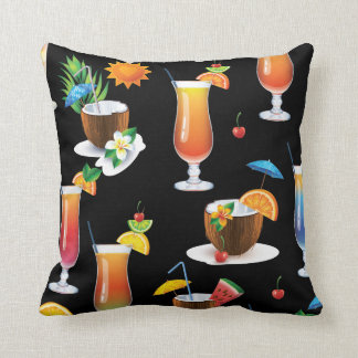 Tropical Cocktail Drinks Decorative Throw Pillow