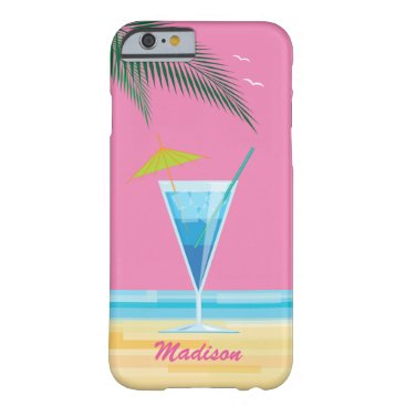 Beach Themed Tropical Cocktail & Pink Sky iPhone 6/6s Case