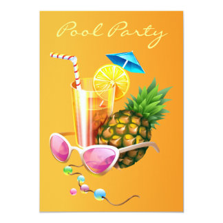 Tropical Cocktail Pool Party 5x7 Paper Invitation Card