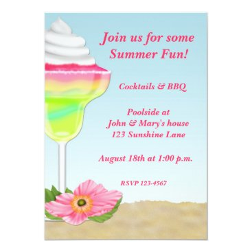 Beach Themed Tropical Cocktail Summer Party Invitation