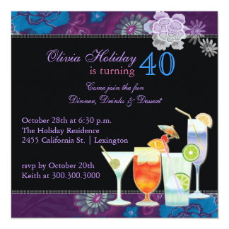 Tropical Cocktails 40th Birthday Party Card