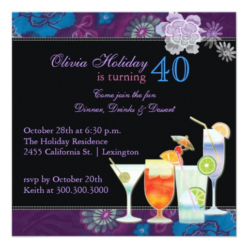 Tropical Cocktails 40th Birthday Party Invitations