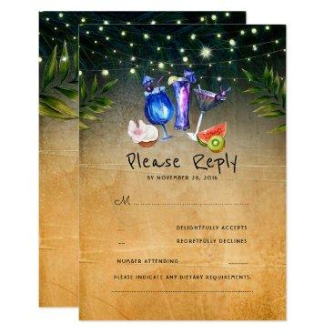 Beach Themed Tropical Cocktails Beach Wedding RSVP Card