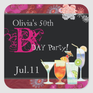 Tropical Cocktails Birthday Party Favors Sticker