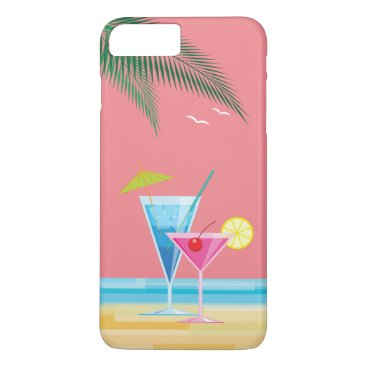 Beach Themed Tropical Cocktails iPhone 7 Plus Case - coral