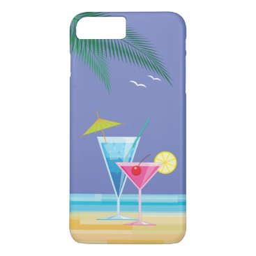 Beach Themed Tropical Cocktails iPhone 7 Plus Case - purple