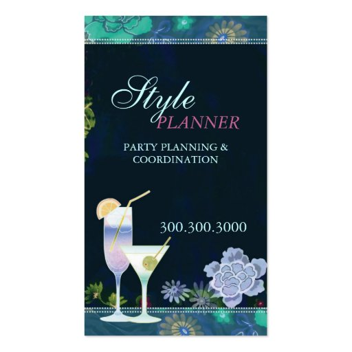 Tropical cocktails party planner business cards zazzle for Party planner business cards