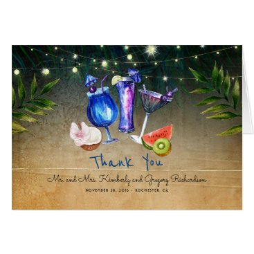 Beach Themed Tropical Cocktails Special Event Beach Thank You Card