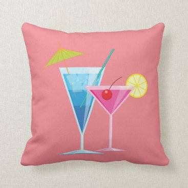 Beach Themed Tropical Cocktails Summer Pillow on Coral