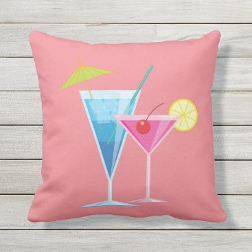 Beach Themed Tropical Cocktails Summer Pillow on Coral Outdoor