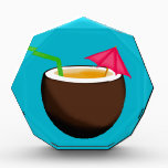 "Tropical Coconut Drink Acrylic Award<br><div class=""desc"">A tropical drink in a coconut cup with an umbrella. A delicious pina colada perhaps?</div>"