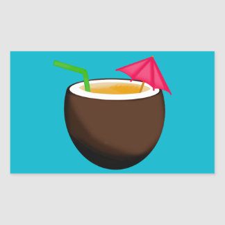 Tropical Coconut Drink Rectangular Sticker