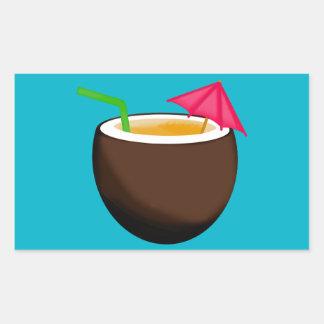 Tropical Coconut Drink Rectangular Sticker
